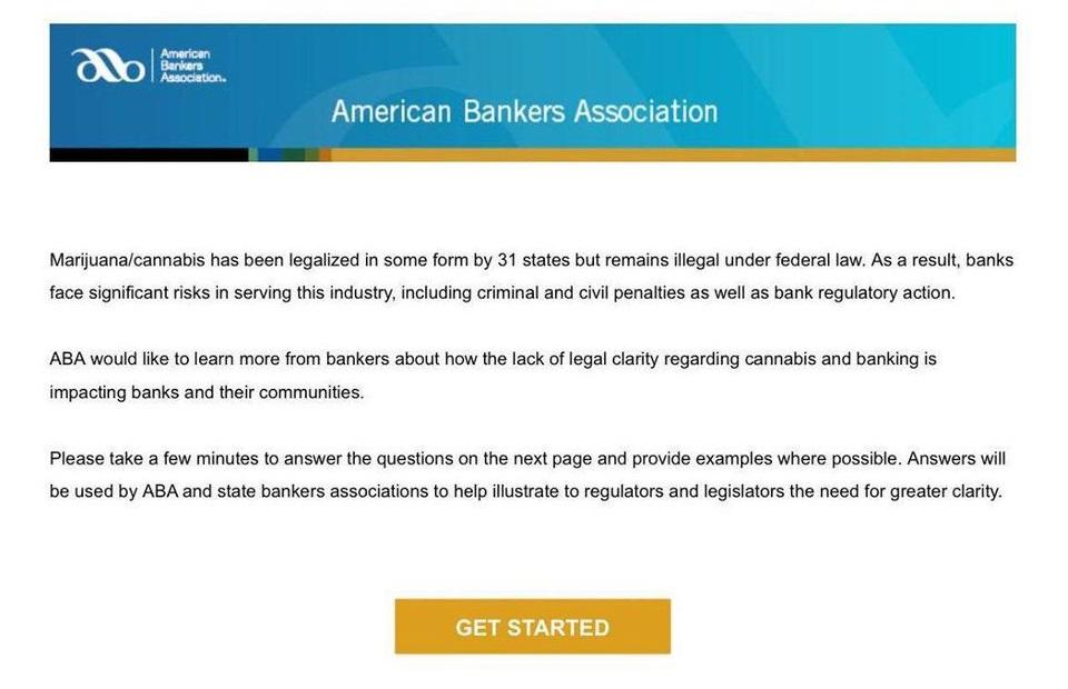 ABA Marijuana Banking Survey Request Email