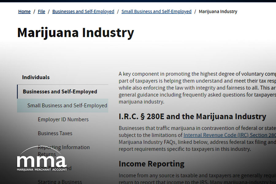 IRS launches marijuana industry web page